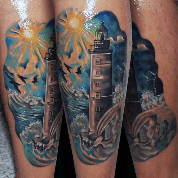 Cool Tatoo Of Blazing Sun And Lighthouse Tattoo Male Forearms