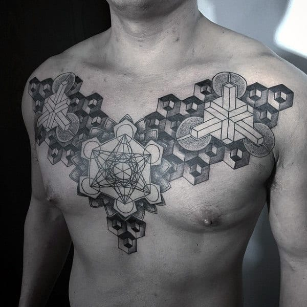 Cool Tattoo Geometric Patterns Of Sacred Geometry On Mans Chest