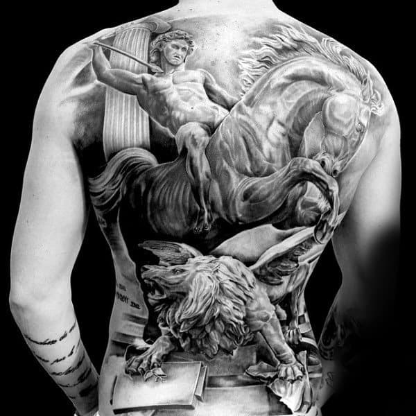 Cool Tattoo Majestic Horse And Greek God Tattoo Mens Back