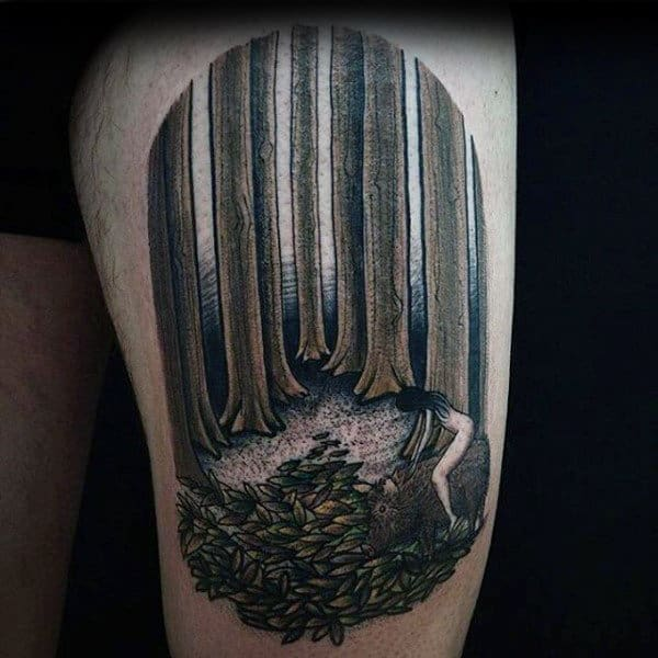 Cool Tattoo Naked Woman In Creepy Forest Thigh Tattoo On Man