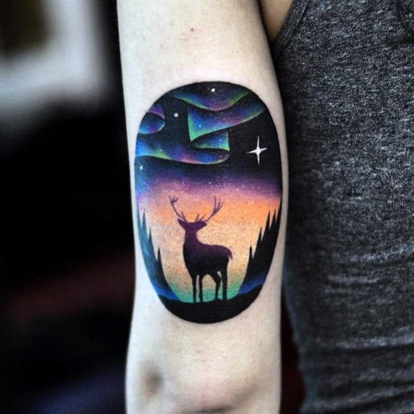 Cool Tattoo Of Antler At Night Mens Arms