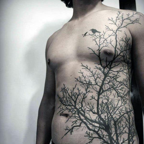 Cool Tattoo Of Crows On Leafless Trees Male Torso