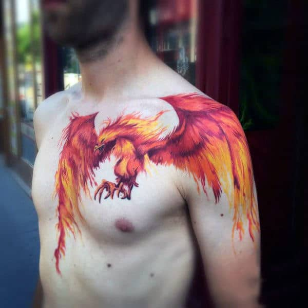 Cool Tattoo Of Fire Red Bird Tattoo Mens Chest