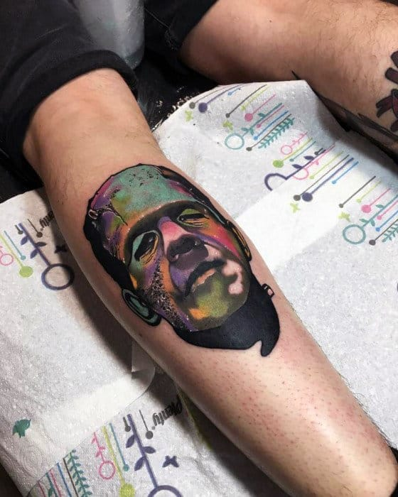 Cool Tattoo Of Mans Portrait Male Arms