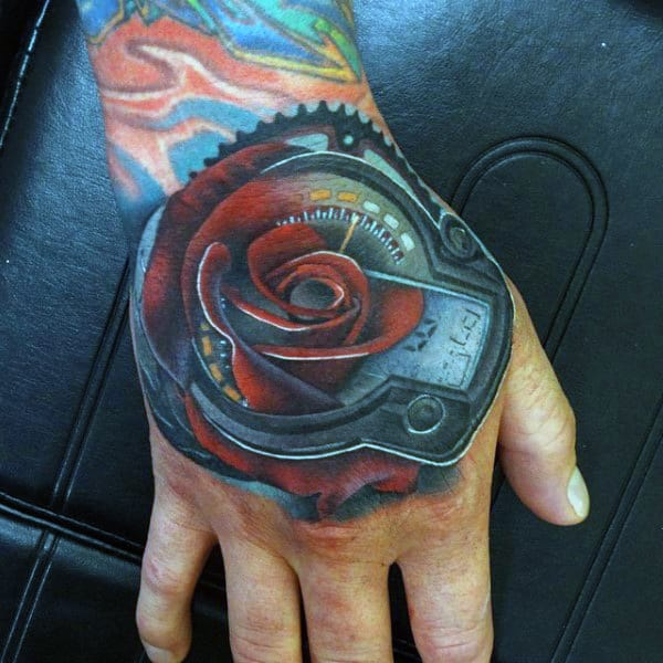 Cool Tattoo Of Rose Mens Hands