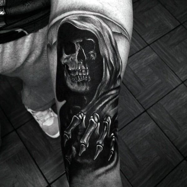 Cool Tattoo Of Scary Veiled Skull Tattoo Mens Forearms