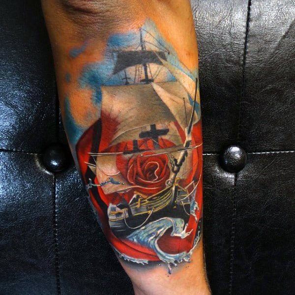 Cool Tattoo Of Ship And Red Rose On Male Forearms