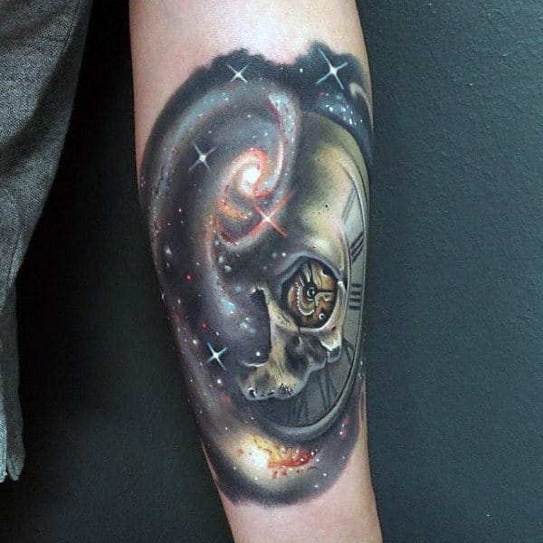 Cool Tattoo Of The Galaxy Mens Forearms