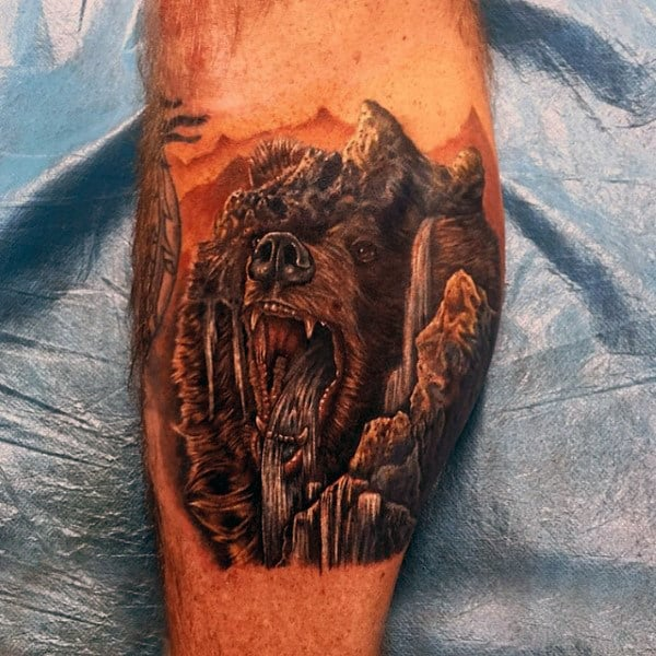 Cool Tattoo Of Water Flowing Out Of Beast Mouth Forearms