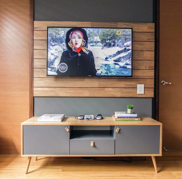 Cool Television Wall With Natural Wood Boards And Grey Tv Stand