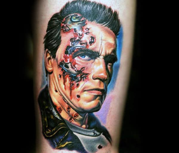 Cool Terminator Arnold Schwarzenegger Mens Thigh Tattoo Designs