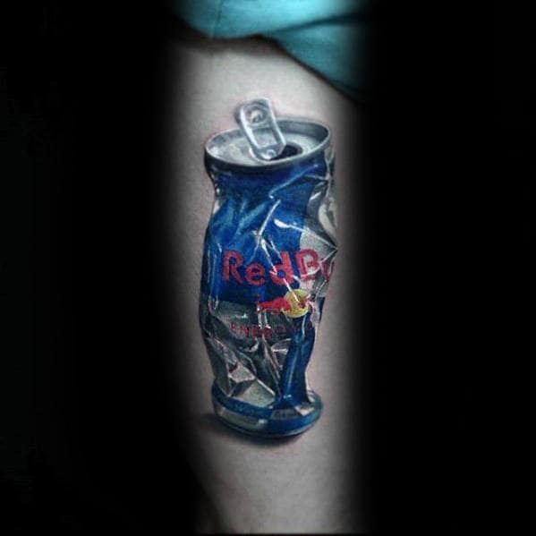 Cool Thigh Hyper Realistic Red Bull Can Mens Tattoo Ideas