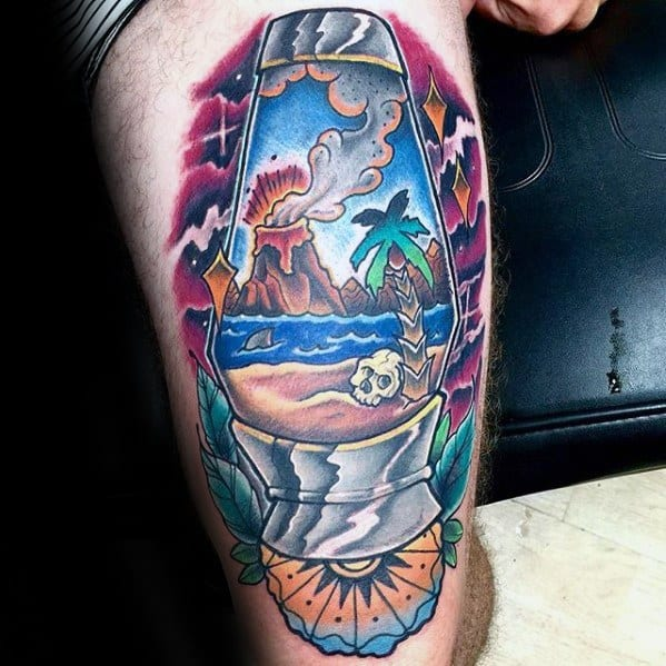 Cool Thigh Tropical Volcano Tattoo Design Ideas For Male