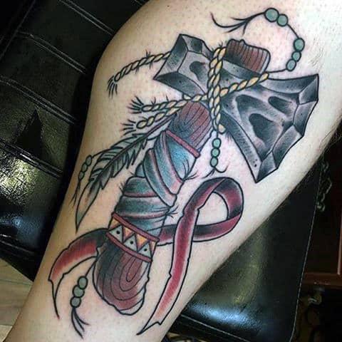 Cool Tomahawk Ribbon Tattoo For Men On Leg