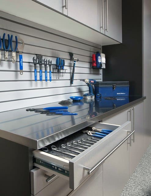 Cool Tool Storage Ideas For Custom Garages With Slat Board And Pull Out Cabinet Drawers