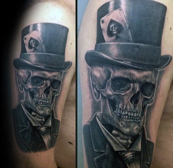 Cool Top Hat Skull Arm 3d Tattoo Design Ideas For Male