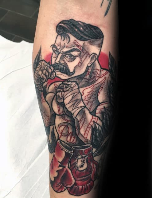 Cool Traditional Boxer Tattoo Inspiration For Gentlemen