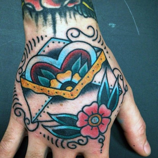 Cool Traditional Envelope Flower Mens Hand Tattoos