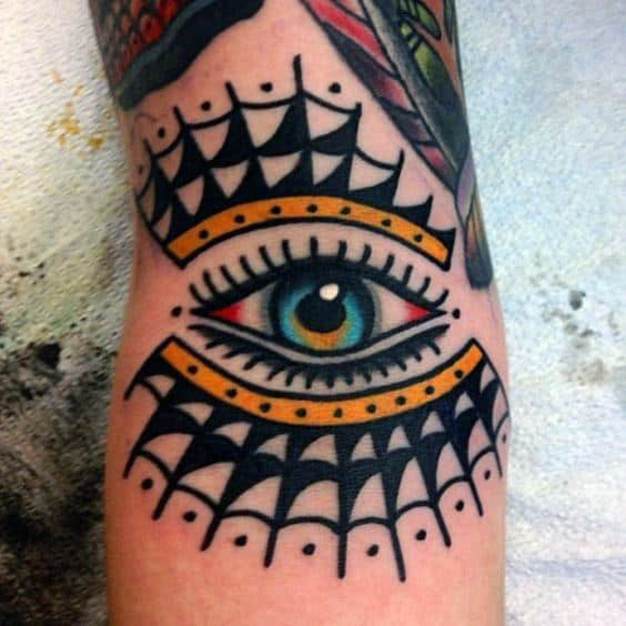 Cool Traditional Eye Mens Forearm Tattoo Inspiration