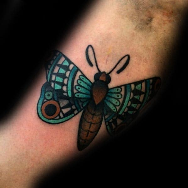 Cool Traditional Guys Inner Arm Bicep Moth Tattoo Designs