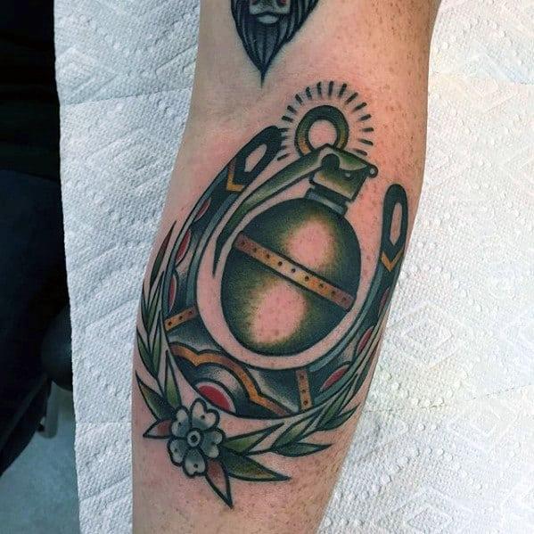 Cool Traditional Horseshoe Grenade Mens Forearm Tattoo