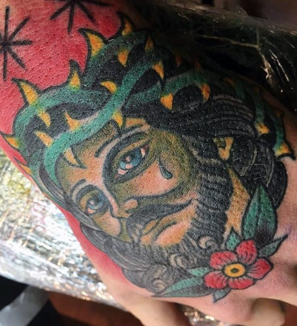 Cool Traditional Jesus Male Hand Tattoo