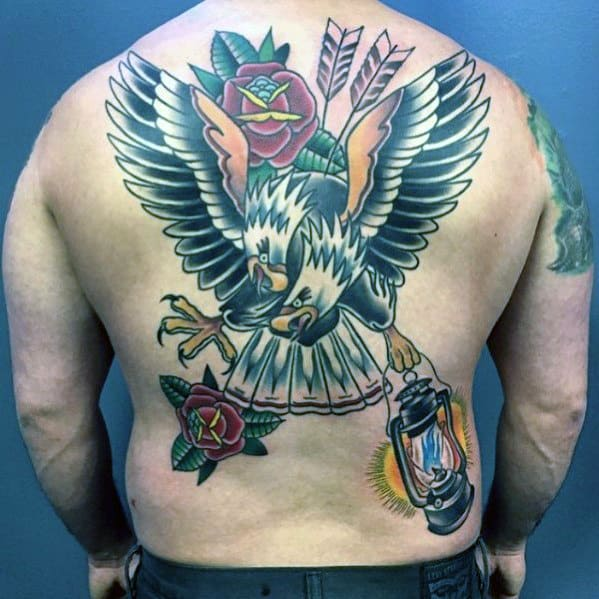 Cool Traditional Lantern With Bald Eagles Mens Back Tattoo