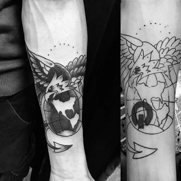 Cool Traditional Marine Mens Logo Inner Forearm Tattoo