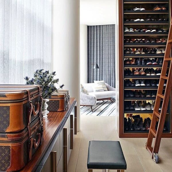 Cool Traditional Mens Dress Shoe Closet Storage With Ladder