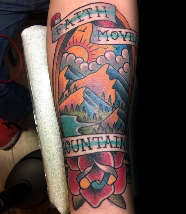 Cool Traditional Mountain Tattoo Design Ideas For Male