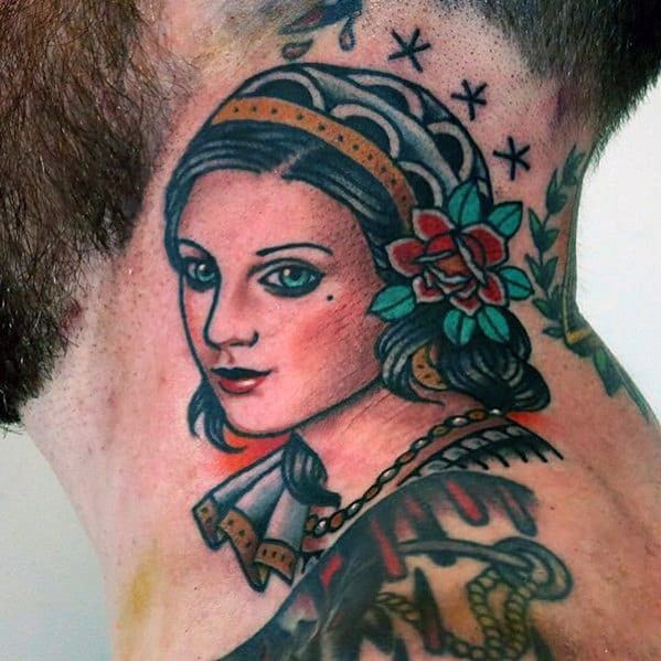 Cool Traditional Neck Female Portrait Guys Tattoo Ideas