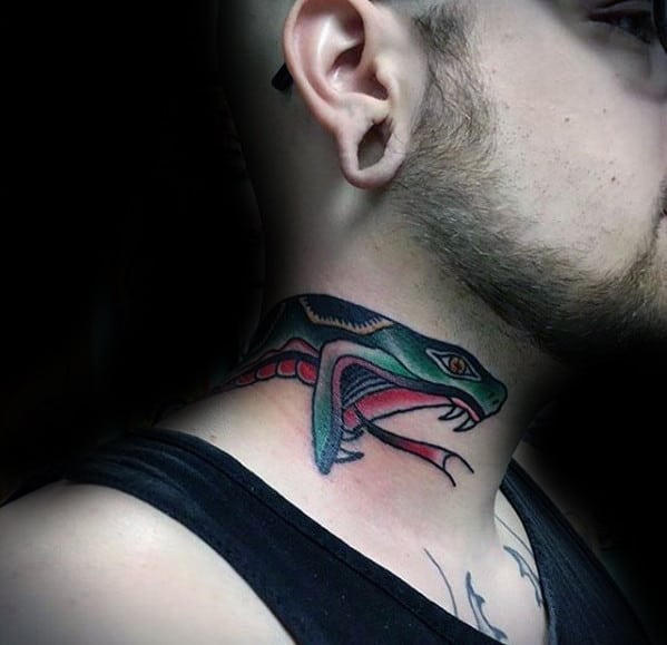 Cool Traditional Neck Snake Head Male Tattoo