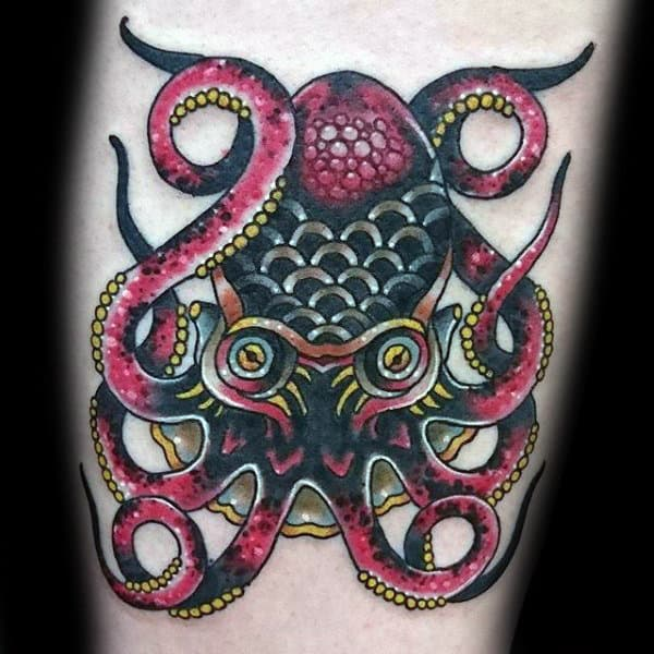 Cool Traditional Octopus Tattoo On Man