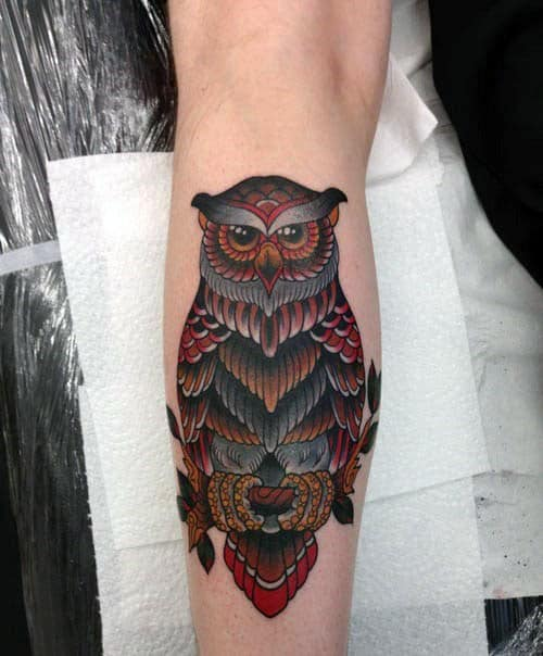 Cool Traditional Owl Leg Calf Tattoo On Man