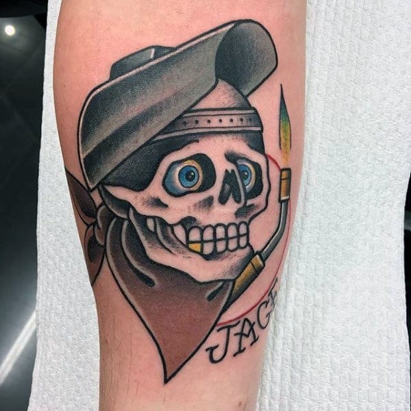 Cool Traditional Skull With Welder Theme Mens Arm Tattoo