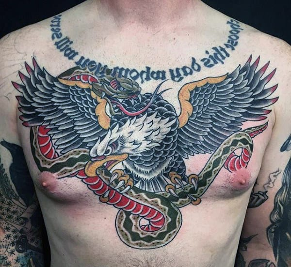 Cool Traditional Snake And Bald Eagle Male Upper Chest Tattoo