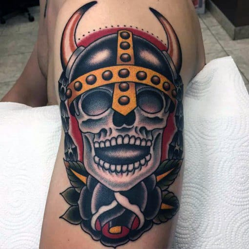 Cool Traditional Viking Skull Mens Arm Tattoo