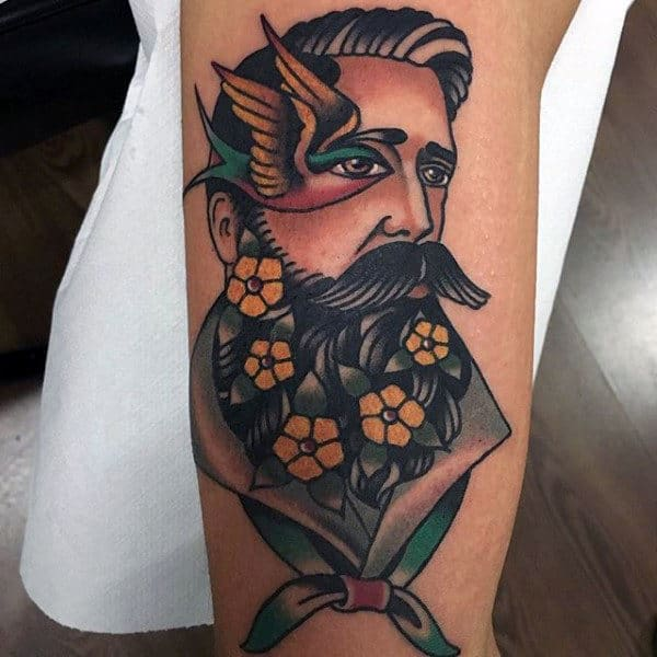Cool Tradtional Tattoo Of Man With Flowers On Guys Forearms