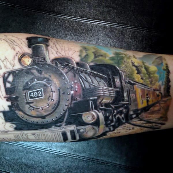 Cool Train Tattoos For Men On Arm