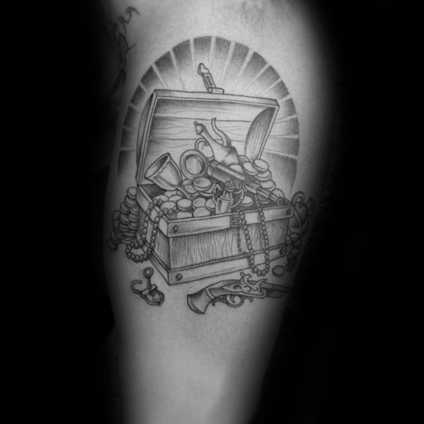Cool Treasure Chest Male Inner Arm Bicep Tattoo Designs
