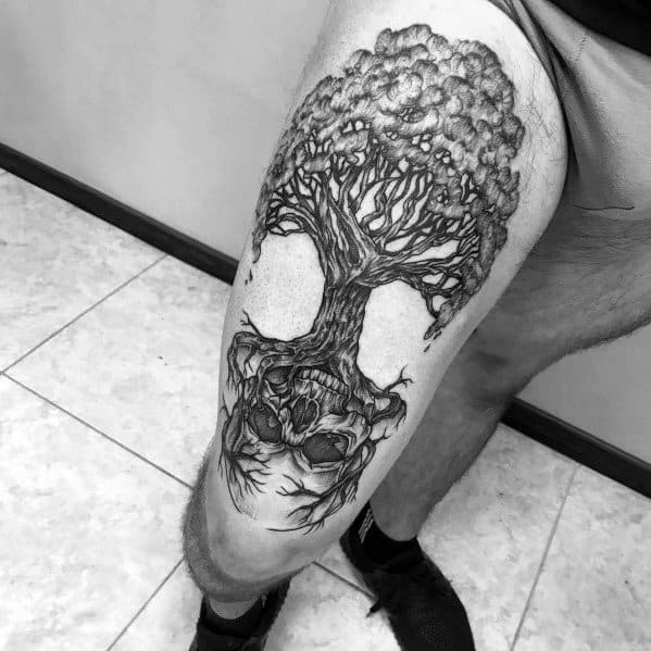 Cool Tree Tattoo Designs For Gentlemen On Thigh