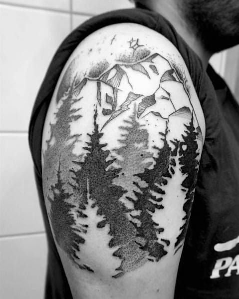 Cool Tree Tattoo Designs On Men Upper Arm