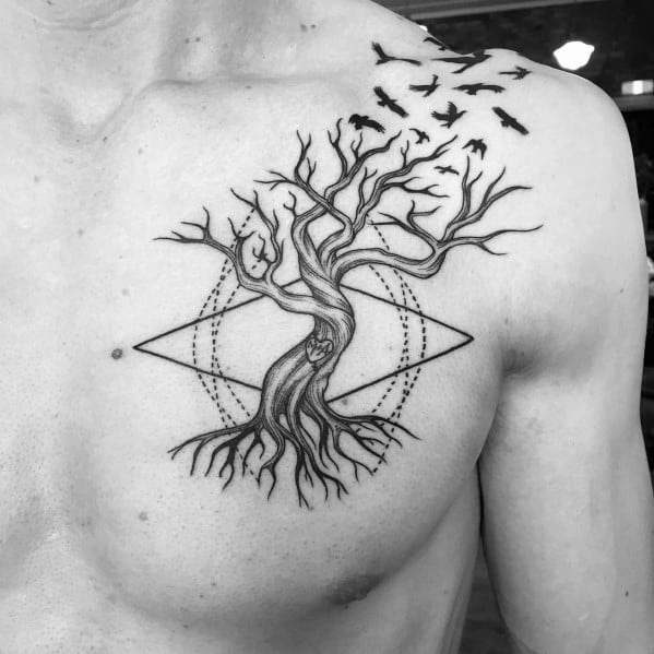 Cool Tree With Flying Birds Tattoo Upper Chest Ideas For Men