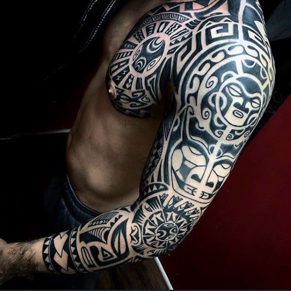 90 Tribal Sleeve Tattoos For Men , Manly Arm Design Ideas