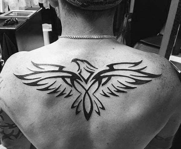 Cool Tribal Bird Upper Back Tattoo Design Ideas For Gentlemen