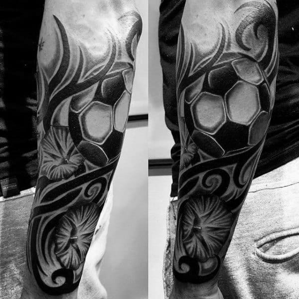 Cool Tribal Black Ink Soccerball Mens Forearm Sleeve Tattoos