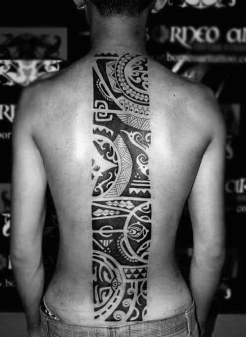 Cool Tribal Centered Spine Guys Tattoos