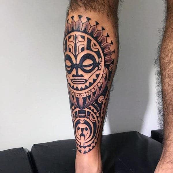 Cool Tribal Hawaiian Tattoo Ideas For Mens Shin And Legs