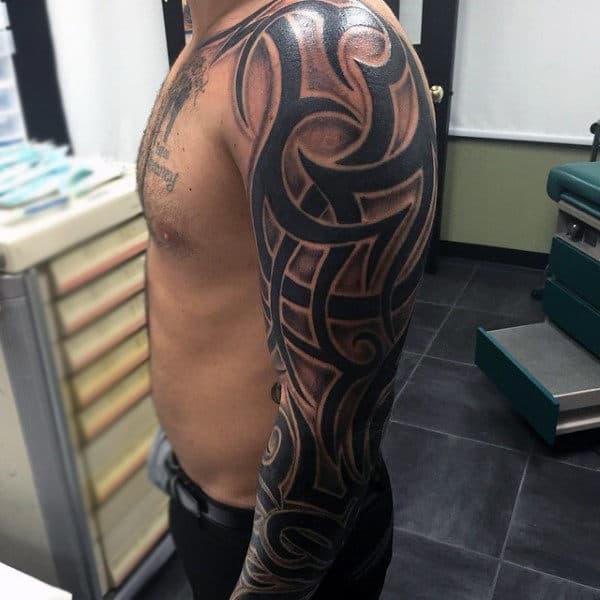 Tribal Quarter Sleeve Tattoo Designs: 90 Tribal Sleeve Tattoos For Men