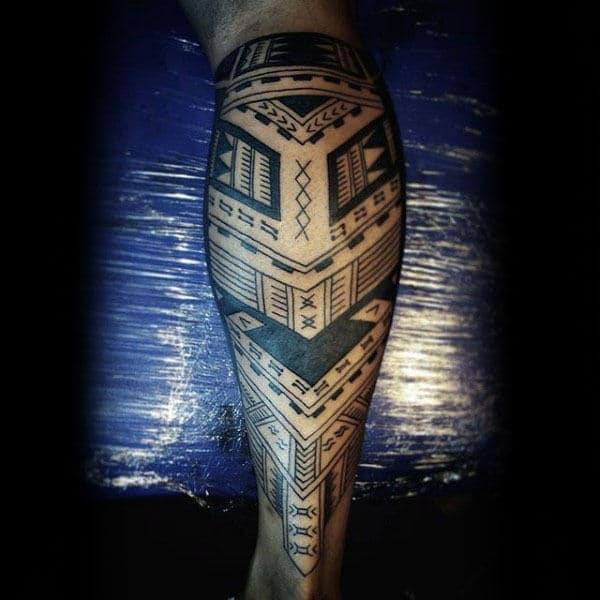 Cool Tribal Tattoo Leg Ideas For Guys